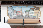Leavenworth Bench & Art digital painting